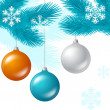 Merry Christmas vector background with glossy balls. — Stock Vector #13157882