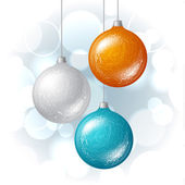Christmas vector background with brilliant glossy balls. — Stock Vector