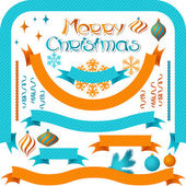 Set of retro ribbons and labels with Christmas decorations. — Stock Vector