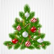 Stock Vector: Merry Christmas vector background with tree and glossy balls.