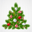 Merry Christmas vector background with tree and glossy balls. — Stock Vector