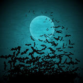 Halloween vector background with moon and bats. — Vector de stock