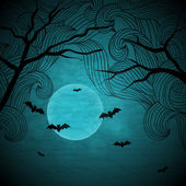 Halloween vector background with moon and bats. — Stock Vector