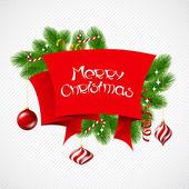 Merry christmas vector achtergrond met glanzende ballen. — Stockvector
