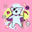 Vector kawaii illustration Halloween cat and creatures. - Векторная иллюстрация