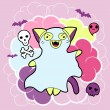 Vector kawaii illustration Halloween cat and creatures. — Stockvectorbeeld