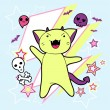 Vector kawaii illustration Halloween cat and creatures. - Imagen vectorial