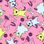 patrón de kawaii Vector de criaturas y gatos halloween — Vector de stock