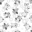 Vector kawaii pattern of Halloween cats and creatures. - Stockvectorbeeld