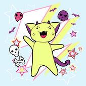 Vector kawaii illustration Halloween cat and creatures. — Stock Vector