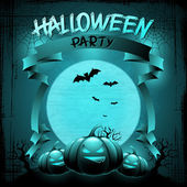 EPS 10 Halloween background with moon, bats and pumpkins. — Stock Vector