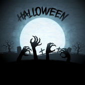 EPS 10 Halloween background with zombies and the moon. — 图库矢量图片