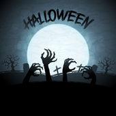Eps 10 halloween di fondo con zombie e la luna. — Vettoriale Stock