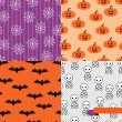 Vector de stock : Seamless backgrounds of Halloween-related objects and creatures.