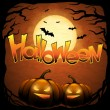 EPS 10 Halloween background with moon, bats and pumpkins. - Grafika wektorowa