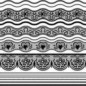Fronteras de encaje transparente. vector conjunto de elementos de diseño. — Vector de stock