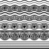 Lace seamless borders. Vector set of elements for design. — 图库矢量图片