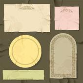 Vintage en retro oud papier verschillende objecten. — Stockvector