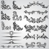 éléments de dessin calligraphique et page décoration vintage armatures — Vecteur