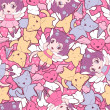 Seamless pattern with doodle. Vector kawaii illustration. — Vecteur
