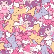 Seamless pattern with doodle. Vector kawaii illustration. — ベクター素材ストック