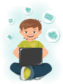 Young teen boy working on a laptop. — Stock Vector