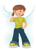 Young teen boy talking on his mobile phone. — Stock Vector