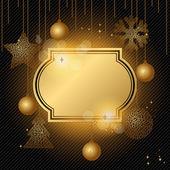 Elegant jul bakgrund med guld kväll bollar. — Stockvektor