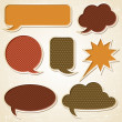 Textured speech bubbles and stickers set in retro style. - Stock Vector