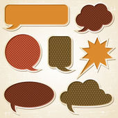 Textured speech bubbles and stickers set in retro style. — Cтоковый вектор