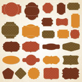 Textured labels and stickers set in retro style. — Stock Vector