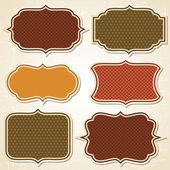 レトロなスタイルで織り目加工ラベル ・ ステッカー セット. — ストックベクタ
