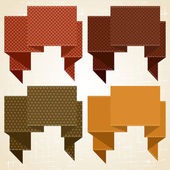 Textured speech bubbles and stickers set in retro style. — Vettoriale Stock