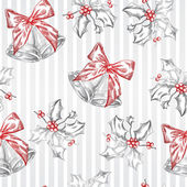 Vintage Christmas and Holidays seamless hand drawn pattern. — Vector de stock