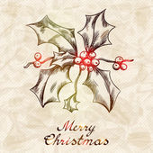 Christmas and New year holidays vector hand drawn card. — Stock Vector
