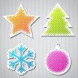 Christmas vector stickers with tree, star, snowflake, ball. — Stock Vector