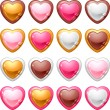 Collection of icons with a shiny, glossy hearts. — Stock Vector #16263145