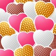 图库矢量图片: Valentine vector seamless pattern of heart stickers.