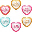 Collection of icons with a shiny, glossy hearts. — Stock Vector