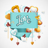 Valentine's Day vector background. Origami speech bubble. — 图库矢量图片