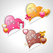 Valentine's Day vector stickers. Origami speech bubble. — Stock Vector