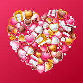 Valentine's Day vector background. Gift card and flyer. — 图库矢量图片