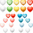 Set of colored balloon Hearts. Vector collection. — Imagens vectoriais em stock