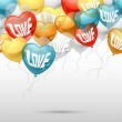 Background with flying balloons in the shape of a heart. — Imagens vectoriais em stock