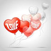 Uçan balon şeklinde bir kalp ile arka plan. — Stok Vektör