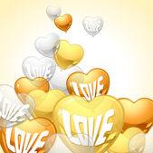 Arrière-plan avec le vol de ballons en forme de coeur. — Vecteur