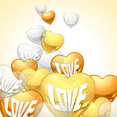 Background with flying balloons in the shape of a heart. — Stock Vector