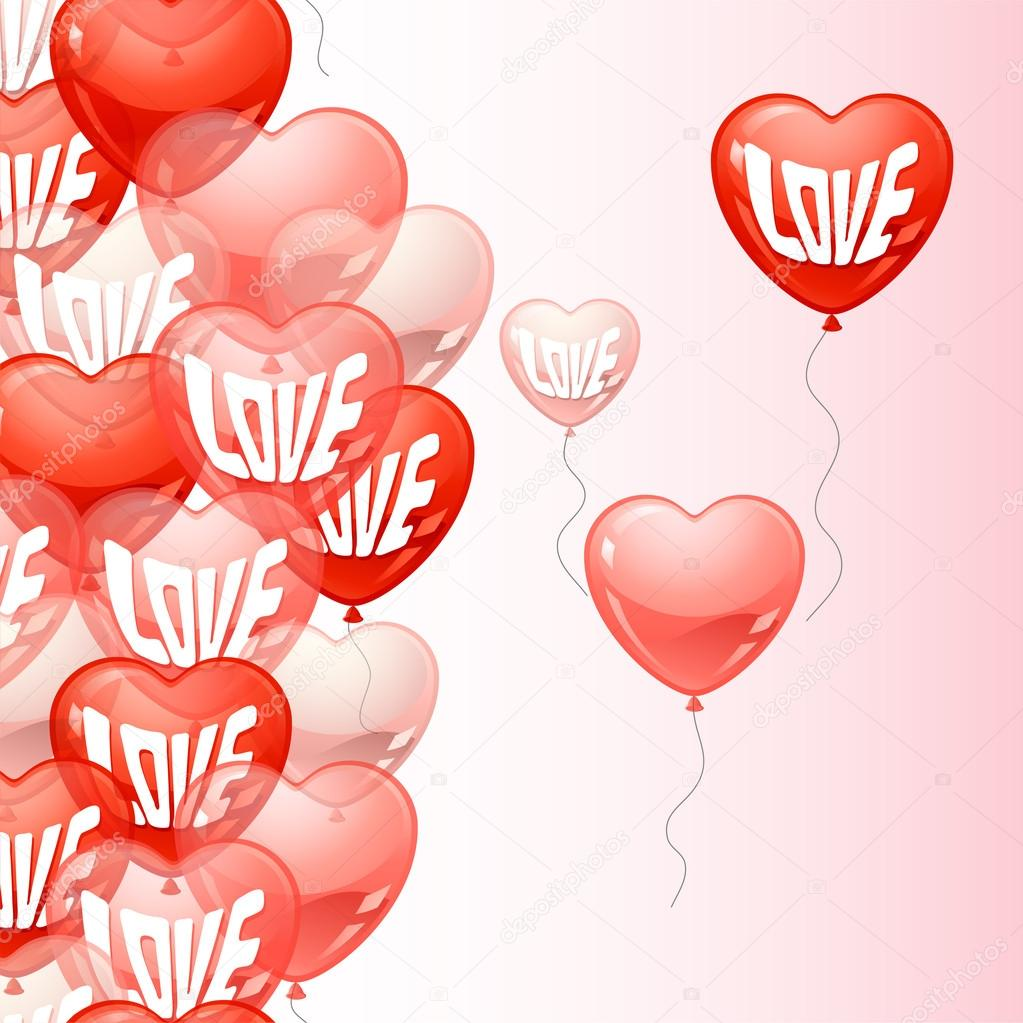 Background with flying balloons in the shape of a heart.  Stock Vector #16296259