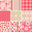 Vector set of 9 Valentine's Day heart patterns. — Векторная иллюстрация