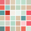 Seamless abstract retro pattern. Set of 36 polka dots textures. — Imagen vectorial